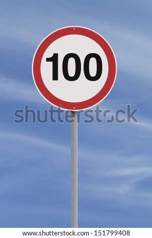 A road sign indicating a 100 speed limit  #151799408