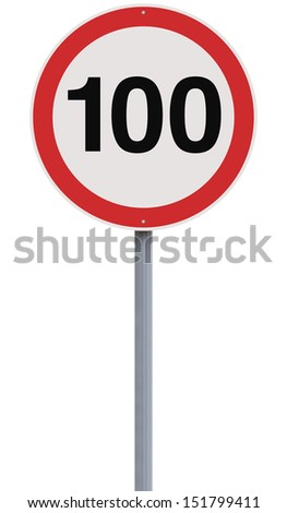 A road sign indicating a 100 speed limit  #151799411