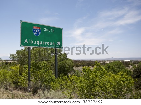 A road sign pointing the way to Albuquerque New Mexico.