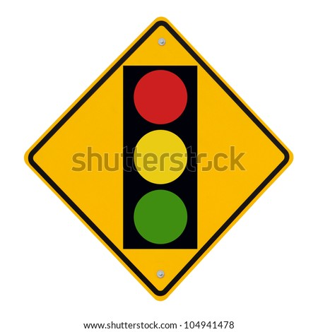 A road sign warning of a traffic light ahead (isolated on white)