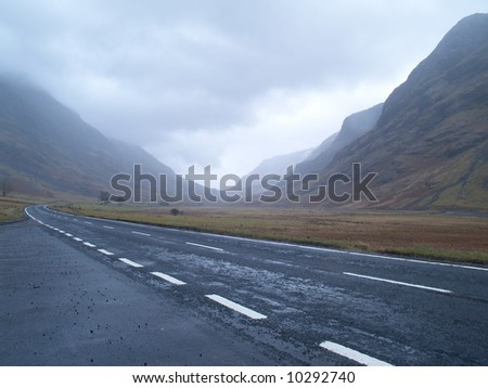 A road through the Scottish Highlands