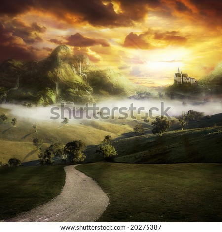 A road to a fantasy landscape with a castle on a hill - stock photo