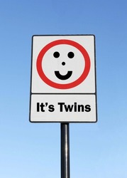 A road traffic sign with an It's Twins concept with a clear blue sky background.