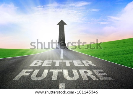 A road turning into an arrow rising upward symbolizing an improvement or a better future