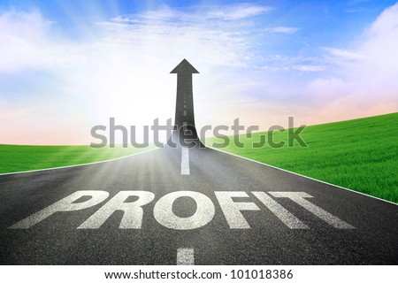 A road turning into an arrow rising upward symbolizing growth and improvement of profit