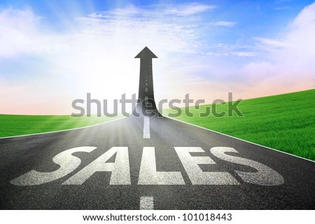 A road turning into an arrow rising upward symbolizing growth and improvement of sales #101018443