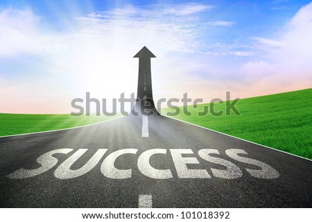 A road turning into an arrow rising upward symbolizing the improvement of success
