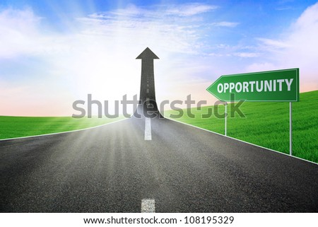 A road turning into an arrow rising upward with a road sign of opportunity, symbolizing the way to gain opportunity