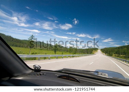 A road view from inside the vehicle