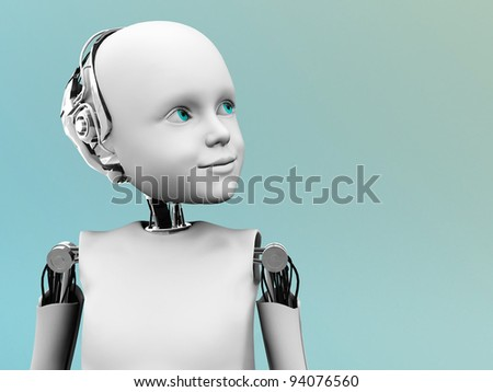 A robot child gazing into the future.