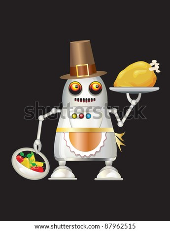A robot dressed for Thanksgiving and serving turkey dinner, fruit and vegetables. Isolated on black with space for you text. Also available in vector format.