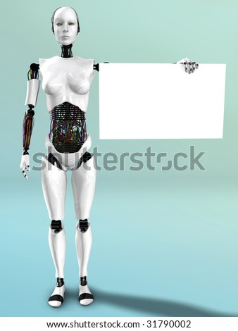 A robot woman holding a blank sign in her hand.