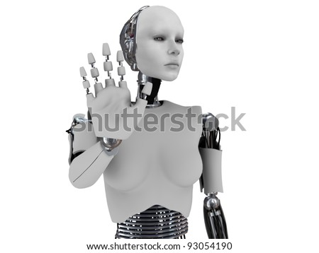 A robot woman holding her hand up like she is stopping someone. The hand is in focus and the body is out of focus. White background.