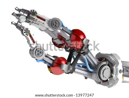 A robotic arm holding a screw - stock photo