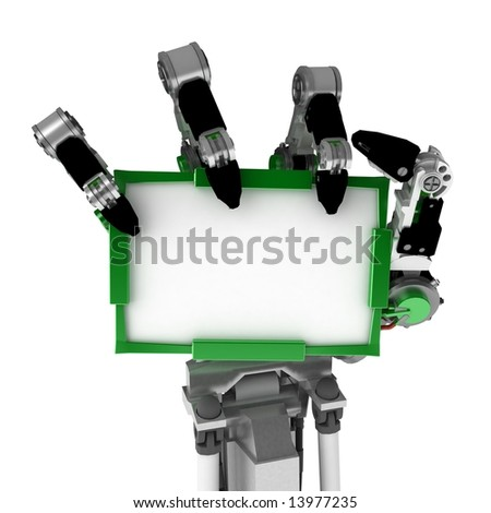 A robotic hand, over white, isolated