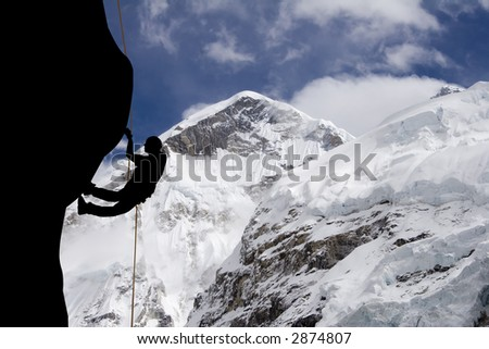 A rock climber near the west ridge of Mt. Everest