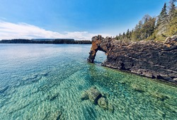 A rock formation called the Sea Lion, Sleeping Giant Provincial Park near Thunder Bay Ontario on Lake Superior