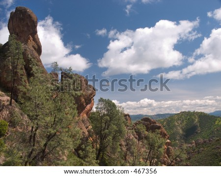 A rock spire thrusts into the sky in Pinnacles National Monument