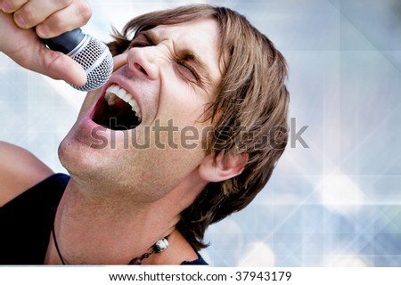 A Rock Star Jamming out with a microphone