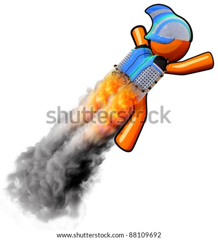 A rocket man flying. Smoke simulation is 3d generated. - stock photo