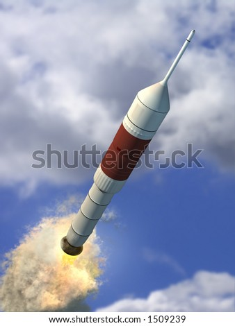 a rocket traveling through the earth's atmosphere. CG illustration.