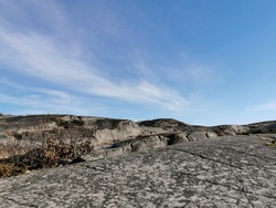 A rocky landscape and the skyscape captured in Rakke (Larvik, Norway)