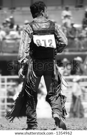 A Rodeo Cowboy walks back to the chutes after a successful ride (shallow focus, black and white).