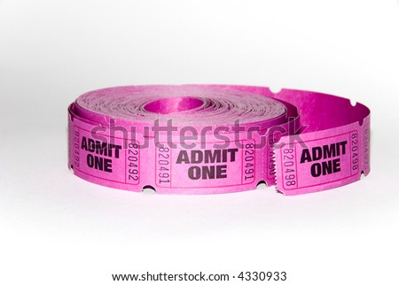A roll of admit one tickets on a white background