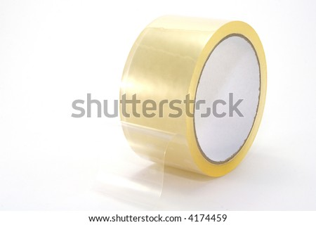 A roll of clear packing tape, isolated on white background.