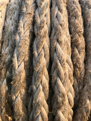 A roll of rope on the vessel. The rope is usually used to moor the vessel to the pier.