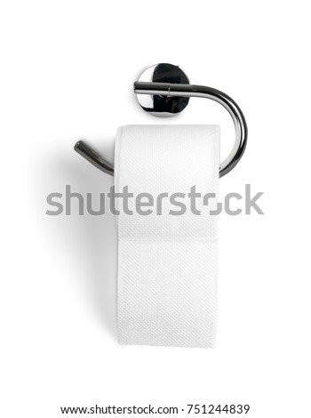 A Roll of Toilet Paper Hanging on a Toilet Paper Holder #751244839
