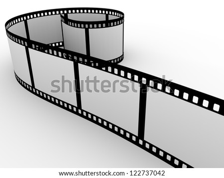 a rolled cinema film. You can put your own pictures in it - stock photo