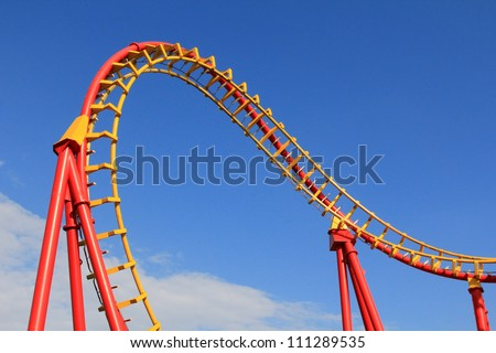 A Roller coaster track in Red and Yellow at Prater Amusement park in Vienna, Austria
