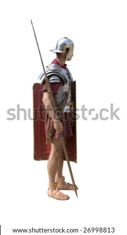 A Roman legionary soldier isolated on white