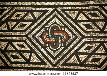 A Roman mosaic from Bignor Roman Villa Sussex England
