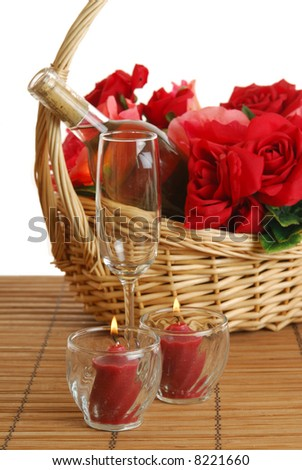 A romantic gift of roses and champagne