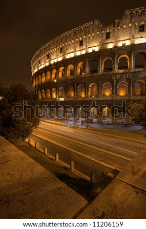 A Rome colosseum by night