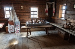 A room in an old Belarusian peasant hut.