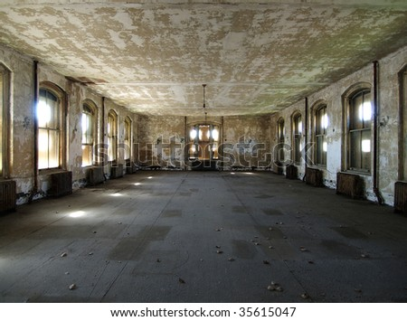 A room waiting for renovation at historic Ellis Island National Park in New York.