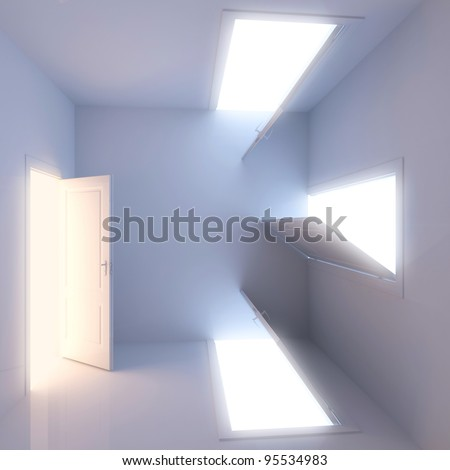 A room with a surreal arrangement of doors. Concept of choice - stock photo