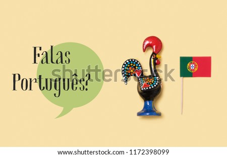 a Rooster of Barcelos, the emblem of Portugal, a flag of Portugal and the question falas portugues, do you speak Portuguese? written in Portuguese, against a yellow background #1172398099