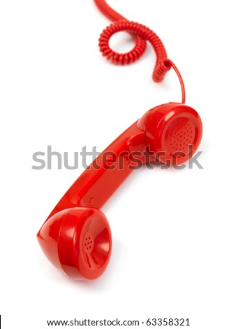 A rotary telephone hand set isolated against a white background