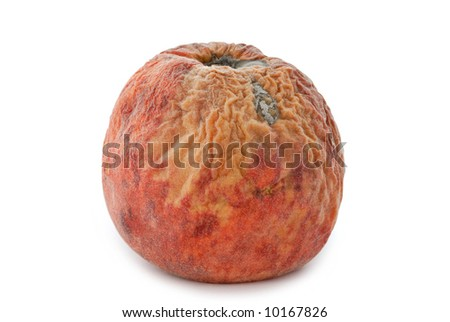 A rotten peach isolated on a white background.