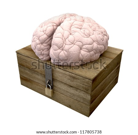 A rough wooden planked box with a lid on hinges locked by a brass padlock and a hasp with a regular brain perched on top on an isolated background