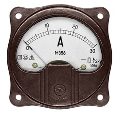 A round brown ammeter M358 (year 1958) for 30 ampere of direct current on the white background