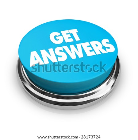 A round button with the words Get Answers on it