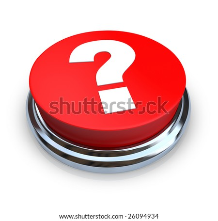 A round, red question mark button on a white background