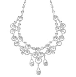 A round silver metal necklace with crystal, isolated on white background