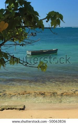 A row boat on a calm turquoise bay at Seven Seas Beach near Fajardo, Puerto Rico