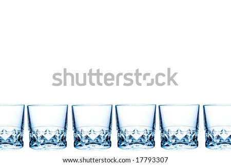 A row of a blue drink glasses